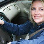 Woman commuting in traffic