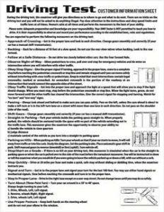 Driving test info sheet